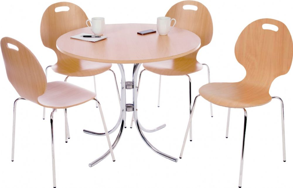 TEKNIK CAFÉ BISTRO SET Round with Beech Effect, Four Chairs